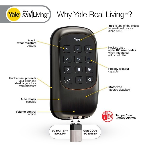 Yale YRD110 key Free Z-Wave Deadbolt with Battery Backup Feature